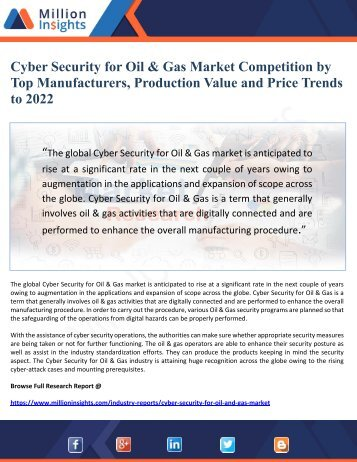Cyber Security for Oil & Gas Market Competition by Top Manufacturers, Production Value and Price Trends to 2022