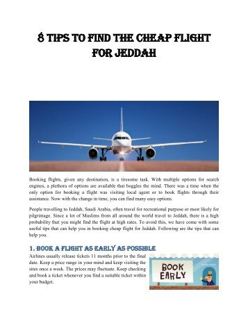 8 Tips to Find the Cheap Flight for Jeddah