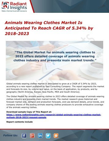 Animals Wearing Clothes Market Is Anticipated To Reach CAGR of 5.34% by 2018-2023
