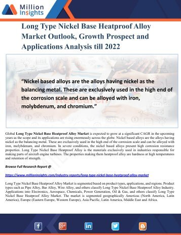 Long Type Nickel Base Heatproof Alloy Market Outlook, Growth Prospect and Applications Analysis till 2022
