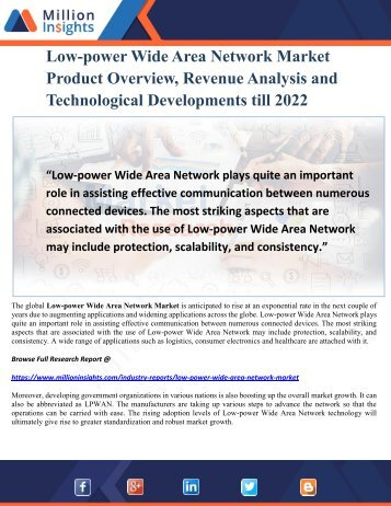 Low-power Wide Area Network Market Product Overview, Revenue Analysis and Technological Developments till 2022