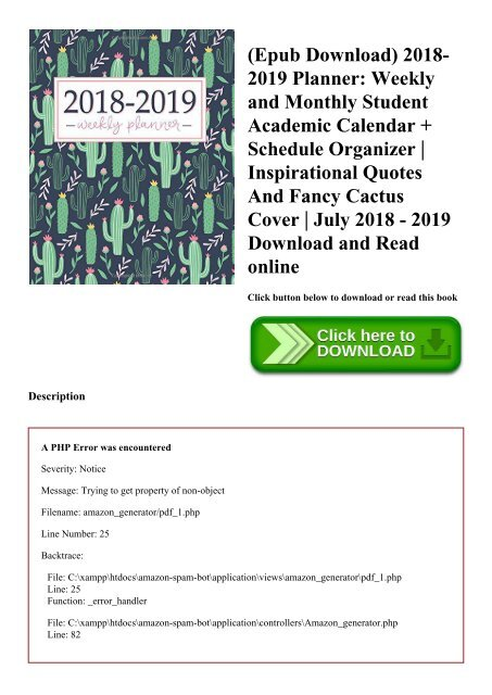 Epub Download 2018 2019 Planner Weekly And Monthly Student Academic