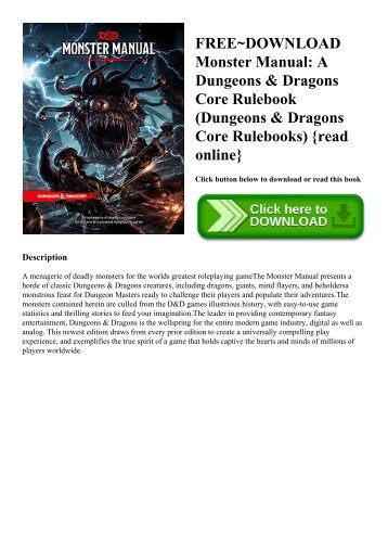 FREE~DOWNLOAD Monster Manual A Dungeons & Dragons Core Rulebook (Dungeons & Dragons Core Rulebooks) {read online}