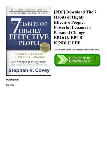 [PDF] Download The 7 Habits of Highly Effective People Powerful Lessons in Personal Change EBOOK EPUB KINDLE PDF