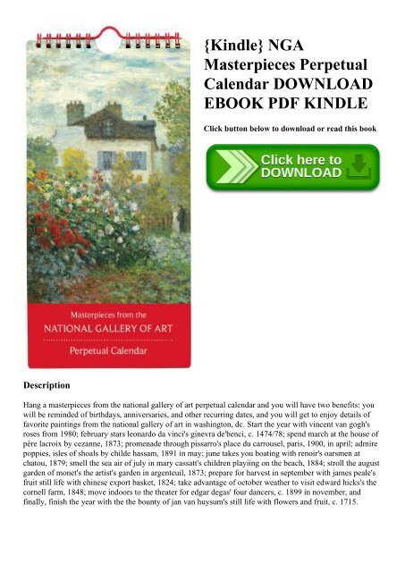 graphic about Perpetual Calendar Pdf titled Kindle NGA Masterpieces Perpetual Calendar Obtain Guide