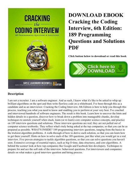 Download Ebook Cracking The Coding Interview 6th Edition 189 Programming Questions And Solutions Pdf