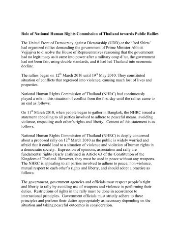 Role of National Human Rights Commission of Thailand towar…