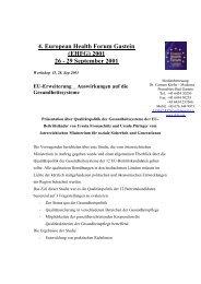 4. European Health Forum Gastein (EHFG) 2001 26 - 29 September ...