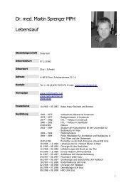 Dr. med. Martin Sprenger MPH Lebenslauf - Martin Sprenger, public ...