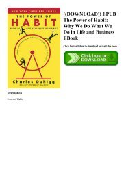 ((DOWNLOAD)) EPUB The Power of Habit Why We Do What We Do in Life and Business EBook