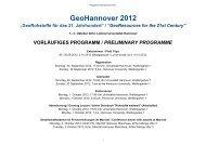 Vorläufige Programm / Preliminary Programme - GeoHannover-2012