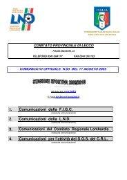 5.5 Comitato Provinciale di LECCO LND - LeccoSportWeb