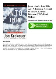 [read ebook] Into Thin Air A Personal Account of the Mt. Everest Disaster (PDF) Read Online