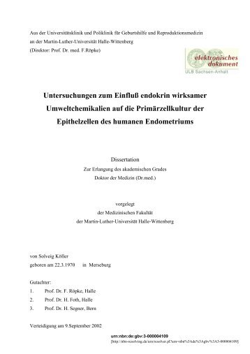 Untersuchungen zum Einfluß endokrin wirksamer ...