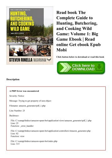 Read book The Complete Guide to Hunting  Butchering  and Cooking Wild Game Volume 1 Big Game Ebook  Read online Get ebook Epub Mobi