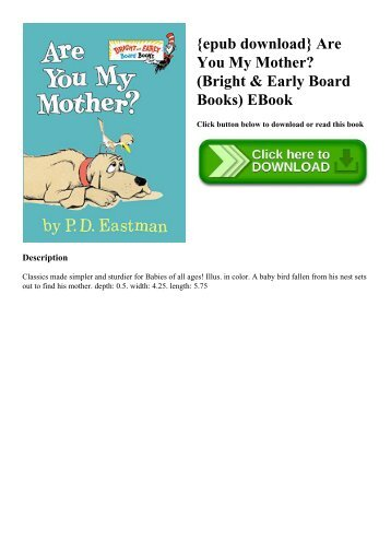 {epub download} Are You My Mother (Bright & Early Board Books) EBook