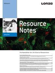 BioResearch - Resource Notes Spring 2011 - BioResearch - Lonza