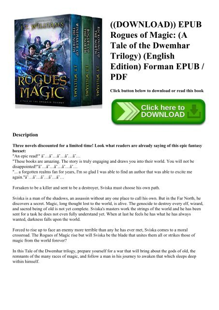Download Epub Rogues Of Magic A Tale Of The Dwemhar Trilogy