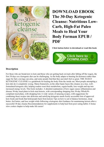 DOWNLOAD EBOOK The 30-Day Ketogenic Cleanse Nutritious Low-Carb  High-Fat Paleo Meals to Heal Your Body Forman EPUB  PDF