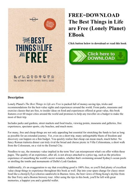Free Download The Best Things In Life Are Free Lonely Planet Ebook