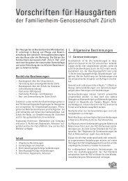 Vorschriften für Hausgärten - Familienheim-Genossenschaft Zürich