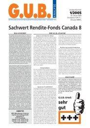 Sachwert Rendite-Fonds Canada 8 - G.U.B.-Fondsguide