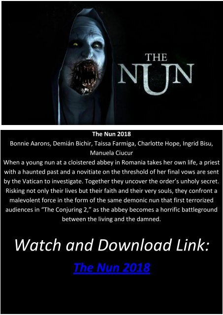 123putlocker Horror Movie The Nun 2018 Hd Bluray Online No registration or downloading on putlockers. 123putlocker horror movie the nun 2018