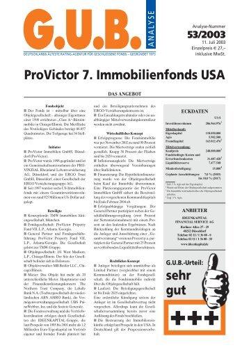 ProVictor 7. Immobilienfonds USA - G.U.B.-Fondsguide