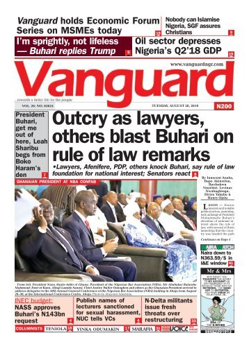 28082018 - Outcry as lawyers, others blast Buhari on rule of law remarks
