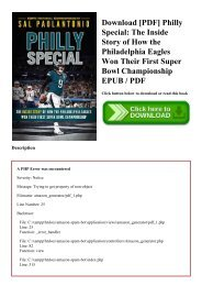 Download [PDF] Philly Special The Inside Story of How the Philadelphia Eagles Won Their First Super Bowl Championship EPUB  PDF