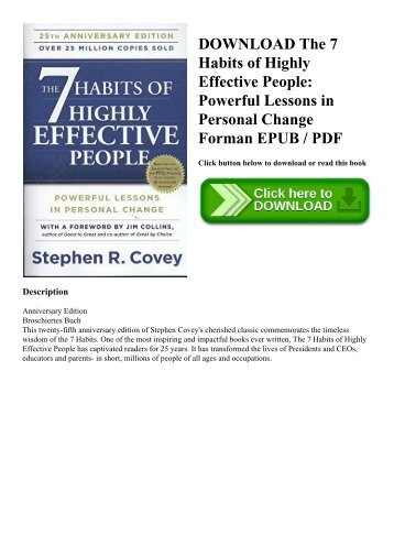 DOWNLOAD The 7 Habits of Highly Effective People Powerful Lessons in Personal Change Forman EPUB  PDF