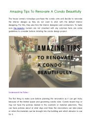 Amazing Tips To Renovate A Condo Beautifully