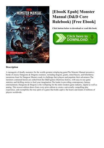 [EbooK Epub] Monster Manual (D&D Core Rulebook) [Free Ebook]