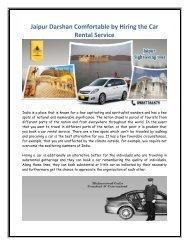 Jaipur Darshan Comfortable by Hiring the Car Rental Service