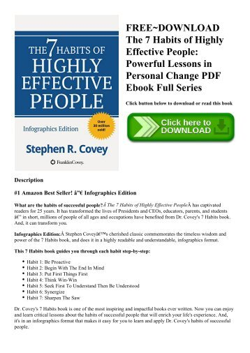 FREE~DOWNLOAD The 7 Habits of Highly Effective People Powerful Lessons in Personal Change PDF Ebook Full Series