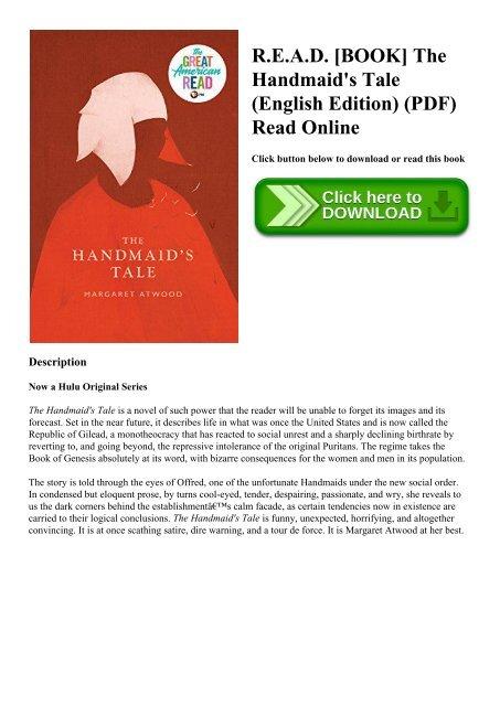 R E A D Book The Handmaid S Tale English Edition Pdf Read Online