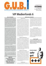 VIP Medienfonds 6 - G.U.B.-Fondsguide