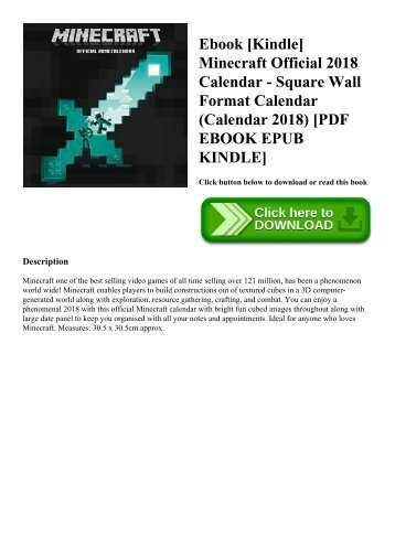 Ebook [Kindle] Minecraft Official 2018 Calendar - Square Wall Format Calendar (Calendar 2018) [PDF EBOOK EPUB KINDLE]