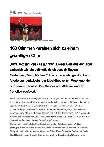 160 Stimmen vereinen sich zu einem gewaltigen Chor ewaltigen ...