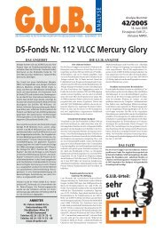 DS-Fonds Nr. 112 VLCC Mercury Glory - G.U.B.-Fondsguide