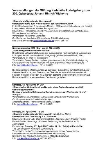 Veranstaltungen der Stiftung Karlshöhe Ludwigsburg zum 200 ...