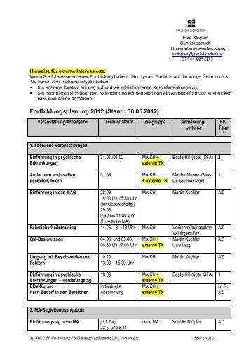 Planung 2012 Internet - Karlshöhe Ludwigsburg