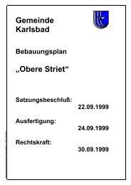 """""""Obere Striet"""" Satzungsbeschluß: 22.09.1999 Ausfertigung"""