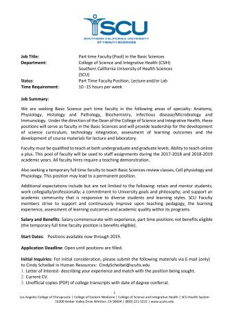 Part time Faculty (Pool) in the Basic Sciences - SCUHS
