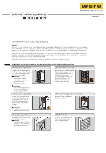 weru bedienungs und wartungsanleitung rolladen. Black Bedroom Furniture Sets. Home Design Ideas