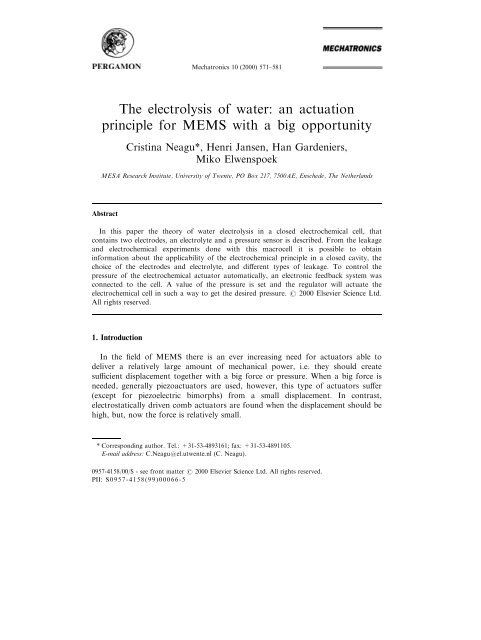 The electrolysis of water: an actuation principle for MEMS