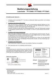 Bedienungsanleitung Lasertaster PT170400 / PT170420 / PT170421
