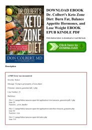 DOWNLOAD EBOOK Dr. Colbert's Keto Zone Diet Burn Fat  Balance Appetite Hormones  and Lose Weight EBOOK EPUB KINDLE PDF
