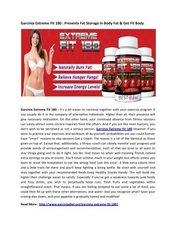 Garcinia Extreme Fit 180 : Burn Your Fat Cells & Get Slim Down