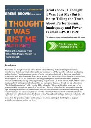[read ebook] I Thought it Was Just Me (But it Isn't) Telling the Truth About Perfectionism  Inadequacy and Power Forman EPUB  PDF